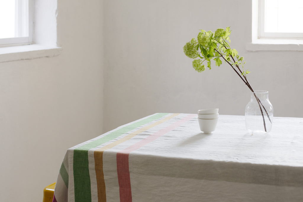 MERU linen blanket/tablecloth - white & multi colour