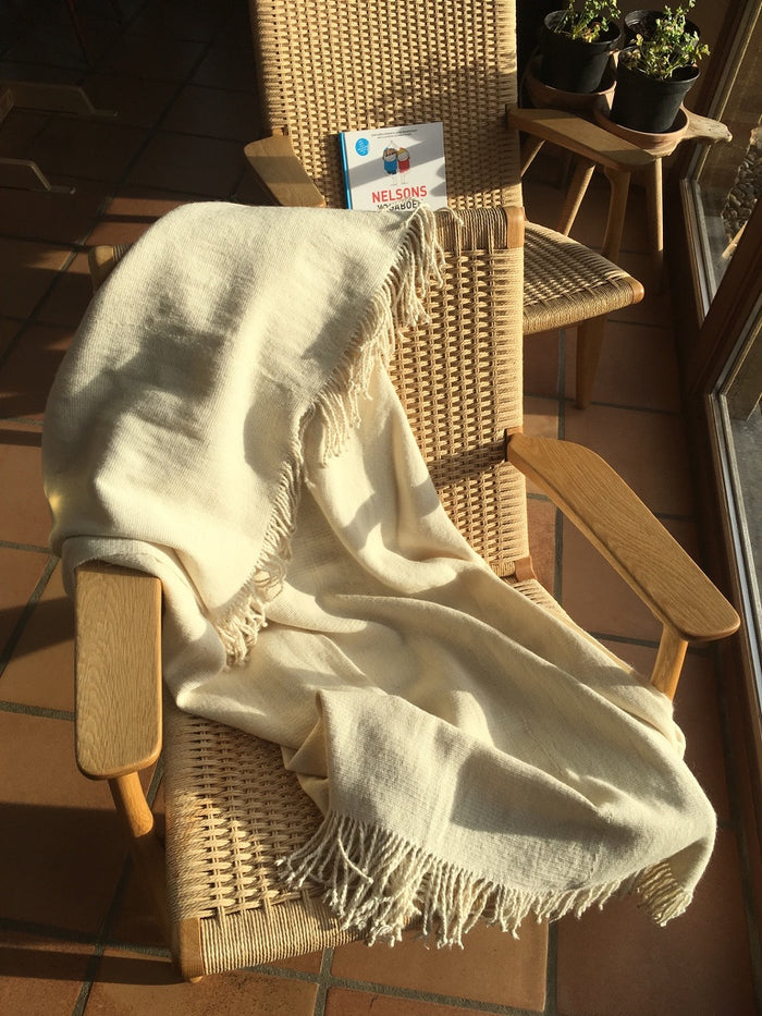 Handmade Alpaca throw blanket - cream