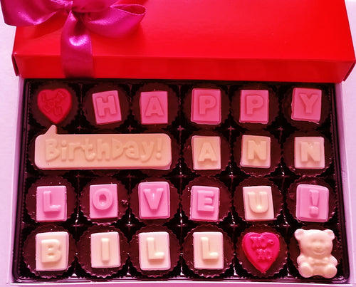 Personalize this box of 24 Peanut butter Cups/ Buckeye with : Happy Birthday Mom, Dad or others.