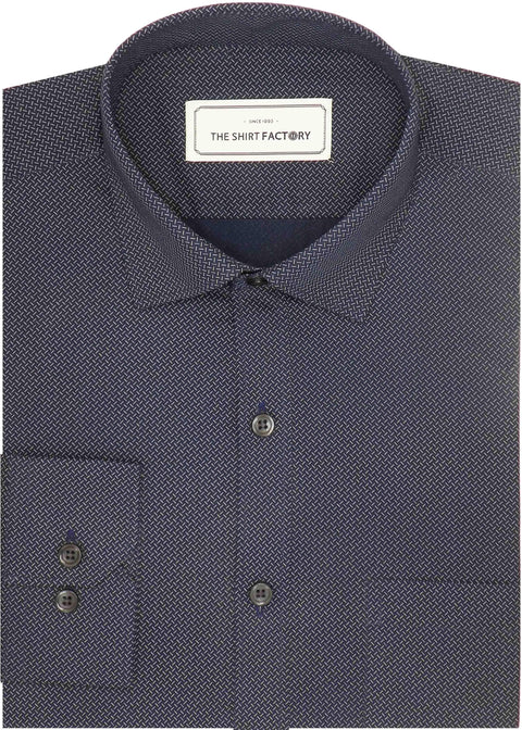 Men's 100% Cotton Printed Shirt - Prussian Blue (0514) - Theshirtfactory