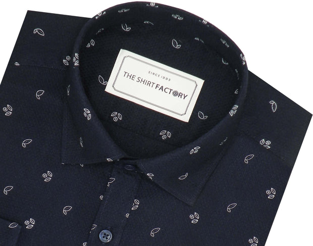 Men's Premium Cotton Dobby Printed Shirt Navy Blue (0947) - Theshirtfactory