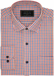 Selects Premium Cotton Check Shirt - Red and Blue Checks (1019) - Theshirtfactory