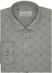 Men's Premium Cotton Printed Shirt Grey (1023) - Theshirtfactory
