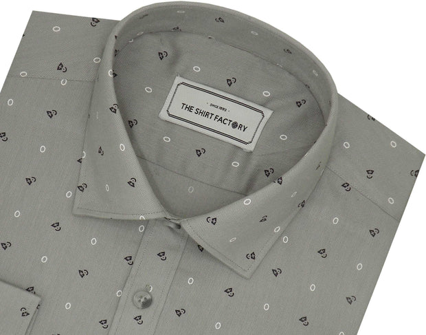 Men's Premium Cotton Printed Shirt Grey (1023) - TheshirtfactoryPrinted Casual Wear