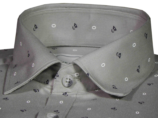 Men's Premium Cotton Printed Shirt Grey (1023) - TheshirtfactoryPrinted Casual Wear Grey / Slim - 39 (Full Sleeves)