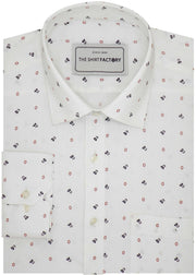 Men's Premium Cotton Printed Shirt White (1024) - Theshirtfactory