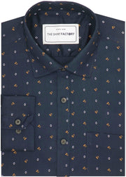 Men's Premium Cotton Printed Shirt Navy Blue (1025) - Theshirtfactory