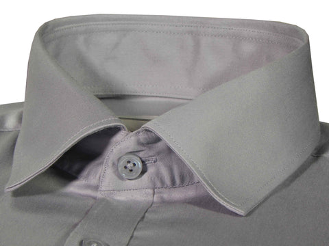 Men's Giza Satin Cotton Plain Shirt - Grey (1048) - Theshirtfactory