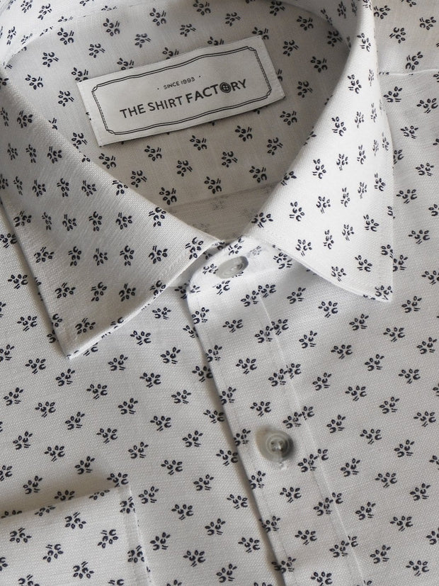 Men's Premium Cotton Linen Printed Shirt White - (1063) - Theshirtfactory