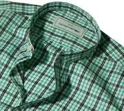 Men's Cotton Check Shirt with Mandarin Collar - Green (1057-MAN) - Theshirtfactory