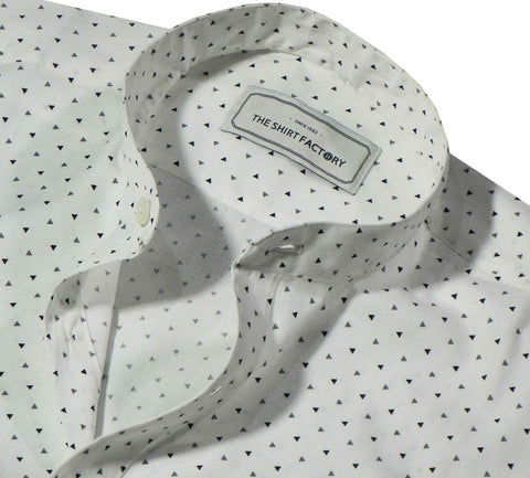 Men's Cotton Printed Shirt with Mandarin Collar - White (0348-MAN) - Theshirtfactory