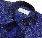 Men's Cotton Printed Shirt with Mandarin Collar - Navy Blue (0513-MAN) - Theshirtfactory