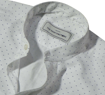 Men's Cotton Printed Shirt with Mandarin Collar - White (1043-MAN) - Theshirtfactory