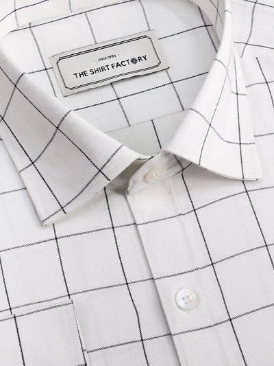 Men's Premium Cotton Check Shirt - White (1035) - Theshirtfactory