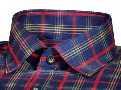 Selects Premium Cotton Twill Check Shirt - Red and Navy Check (1032) - Theshirtfactory