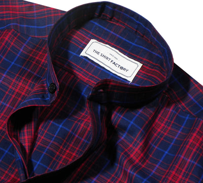 Men's Cotton Check Shirt with Mandarin Collar - Red (0953-MAN) - Theshirtfactory