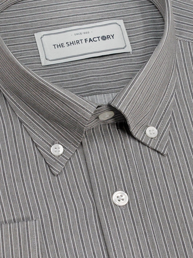 Men's Premium Cotton Striped Shirt - Grey Stripes (1129) - Theshirtfactory