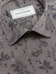 Men's Premium Cotton Printed Shirt - Grey (1152) - Theshirtfactory