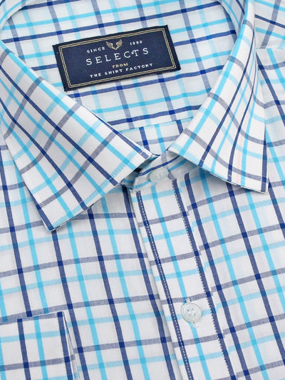 Selects Premium Cotton Blend Check Shirt - Sky Blue (0960) - Theshirtfactory