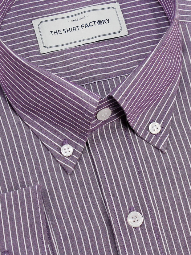 Men's Premium Cotton Button Down Striped Shirt - Purple (1130) - Theshirtfactory