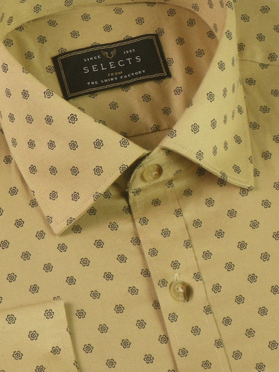 Selects Premium Cotton Printed Shirt Beige (1022) - Theshirtfactory