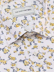 Men's Premium Cotton Satin Printed Shirt - White-Flower Print (1172) - Theshirtfactory