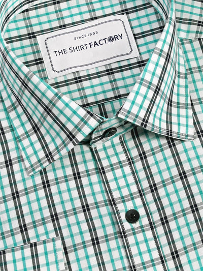 Men's Premium Cotton Twill Check Shirt - Light Green (1057) - Theshirtfactory