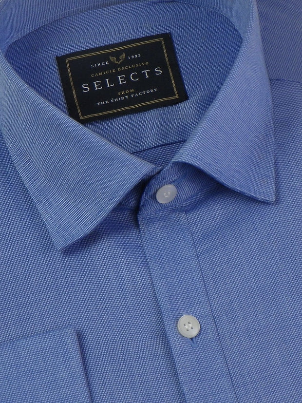 Selects 100% Premium Giza Cotton Plain Shirt - Blue (0184) - Theshirtfactory