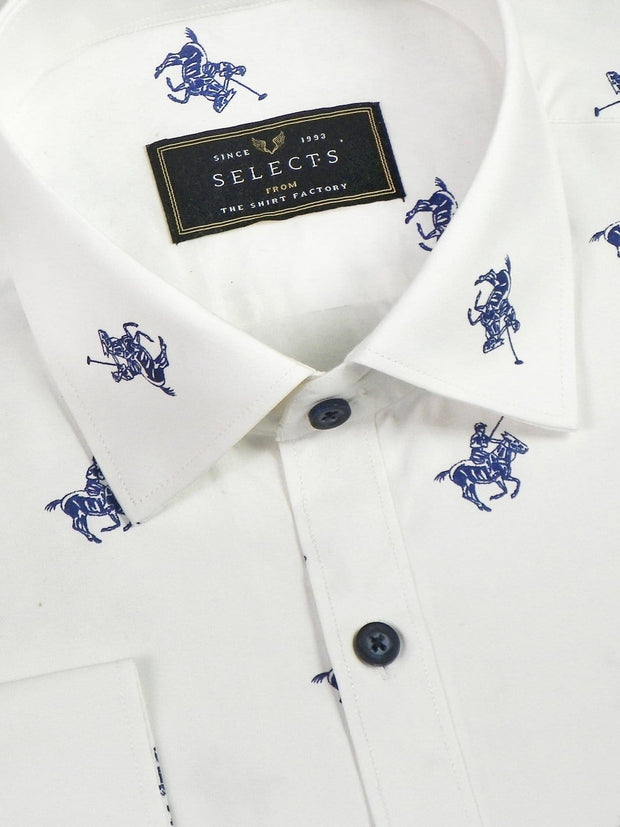Selects Premium Cotton Printed Shirt - White (0613) - Theshirtfactory