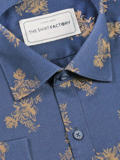 Men's Cotton Dobby Printed Shirt Navy Blue (0342) - Theshirtfactory