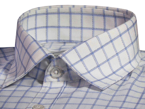 Men's Premium Cotton Blend Check Shirt - White (1041) - Theshirtfactory