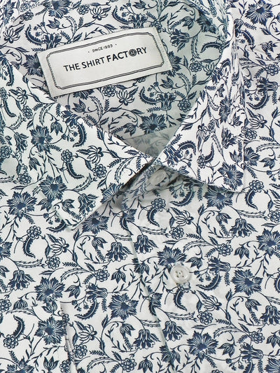 Men's Premium Cotton Printed Shirt - Blue (1150) - Theshirtfactory