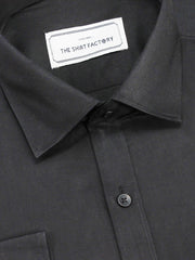 Men's Giza Satin Cotton Plain Shirt - Black (0900) - Theshirtfactory