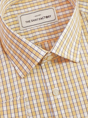 Men's Premium Cotton Check Shirt - Light Orange (1059) - Theshirtfactory