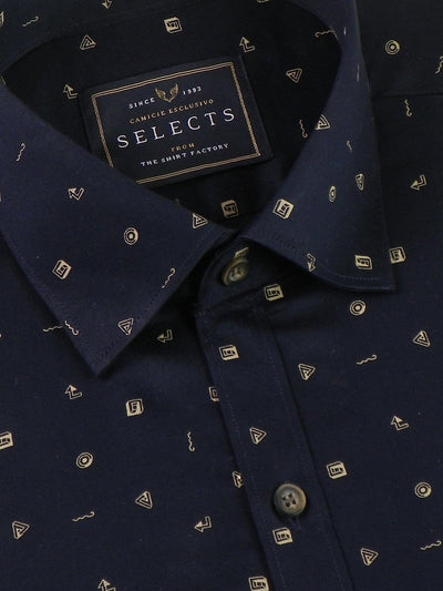 Selects Premium Cotton Printed Shirt Navy Blue - (0928) - Theshirtfactory