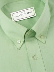 Men's Premium Cotton Plain Button Down Shirt - Pista Green (1118) - Theshirtfactory