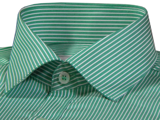 Men's Premium Cotton Striped Shirt - Green (1031) - Theshirtfactory