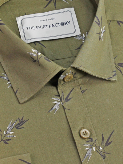 Men's Cotton Printed Shirt Green (0982) - Theshirtfactory