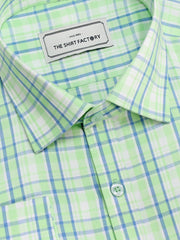 Men's Premium Cotton Check Shirt - Green (1037) - Theshirtfactory