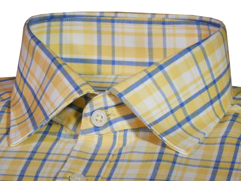 Men's Premium Cotton Check Shirt - Yellow (1036) - Theshirtfactory
