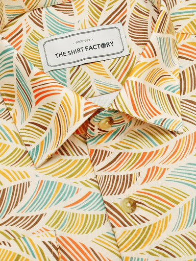 Men's Premium Cotton Blend Linen Finish Printed Shirt - Cream (1181) - Theshirtfactory