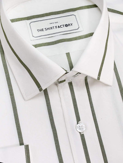 Men's Premium Cotton Striped Shirt - White with Green Stripes (1127) - Theshirtfactory