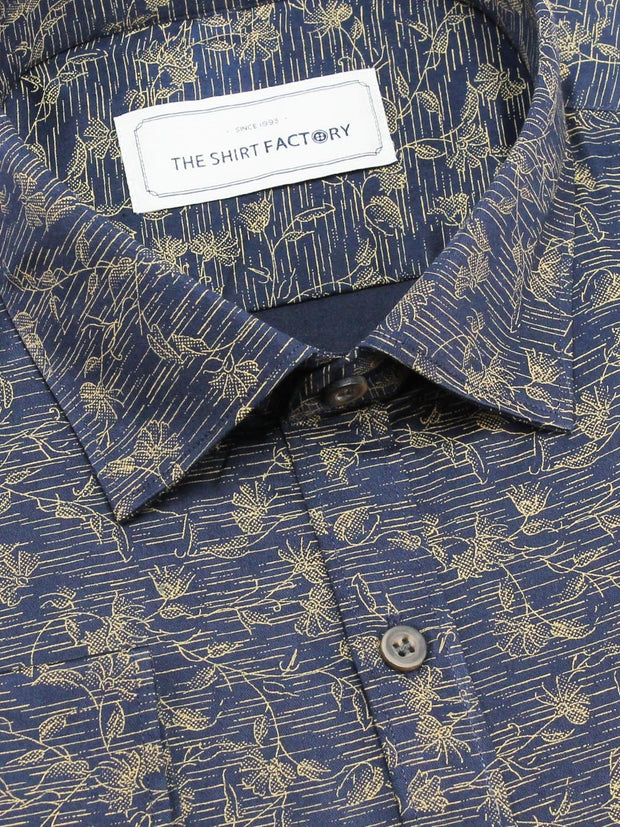 Men's 100% Cotton Printed Shirt - Navy Blue (0419) - Theshirtfactory