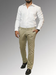 Men's Casual Cotton Trouser - Beige (TRO-046)