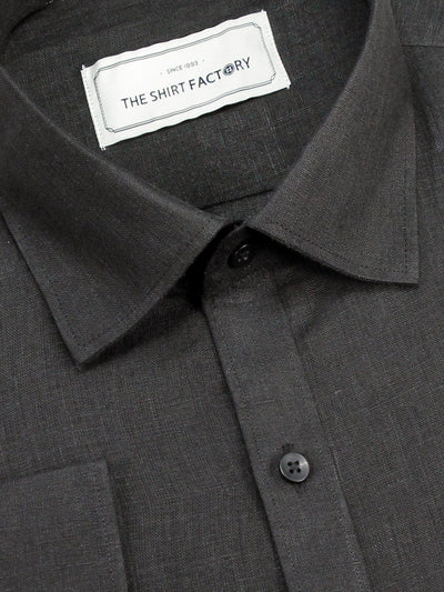 Selects Pure Linen Plain Shirt - Black (0292) - Theshirtfactory