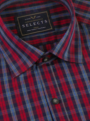 Selects Premium Cotton Check Shirt - Red (0376) - Theshirtfactory