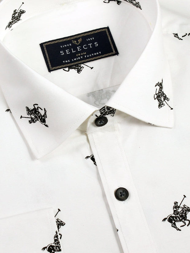 Selects Premium Cotton Printed Shirt - White (0612) - Theshirtfactory