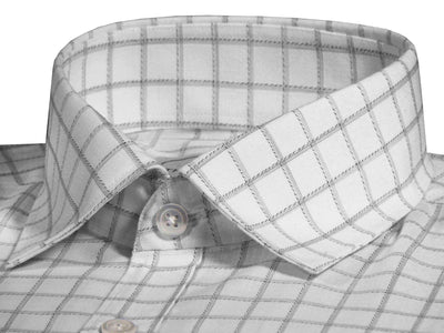 Men's Premium Cotton Blend Check Shirt - White (1042) - Theshirtfactory
