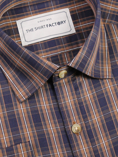 Men's Premium Cotton Check Shirt - Brown (0369) - Theshirtfactory