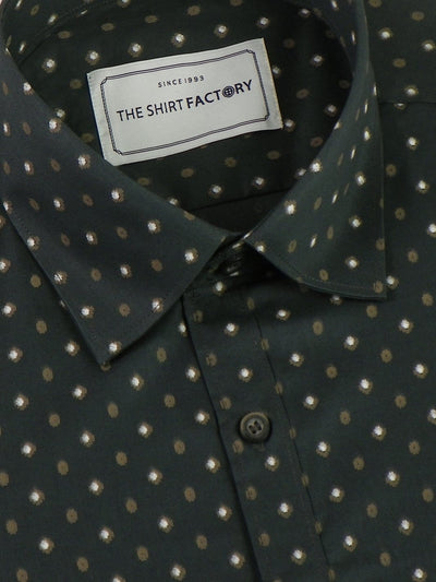 Men's Cotton Printed Shirt - Green (0621) - Theshirtfactory